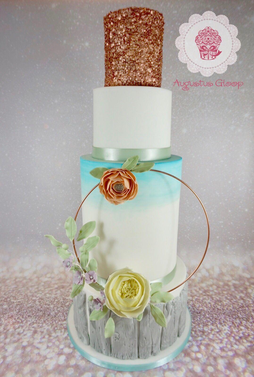 Beach wedding cake wales hoop sugar roses gold wood