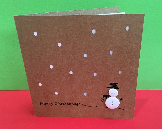 Christmas Card - Cute Robins with Buttons - Paper