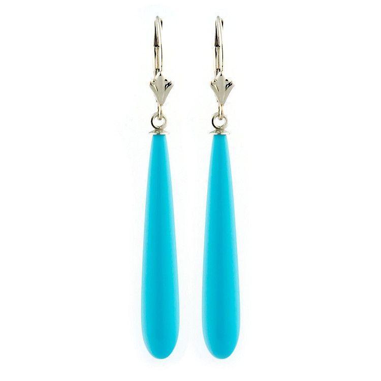 35mm Turquoise Teardrop Leverback Earrings 14K White Gold - Trustmark Jewelers