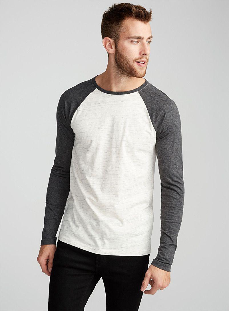 Homme à Manches Longues Baseball Contraste Tee T Shirt Top 4 Couleurs