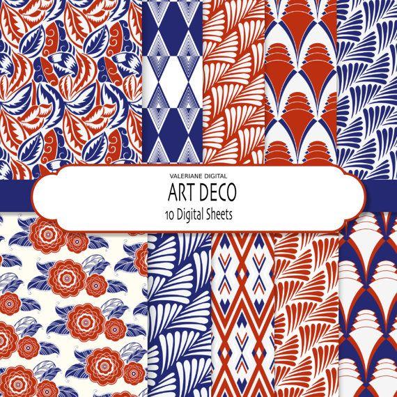 Art+Deco+in+blue++and+red+Digital+paper+pack++by+ValerianeDigital,+$2.75