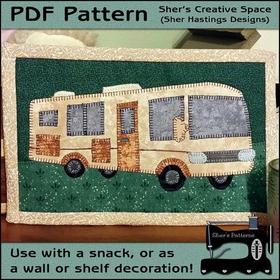 PDF Pattern For Motorhome Mug Rug, Motor Home Mug Rug