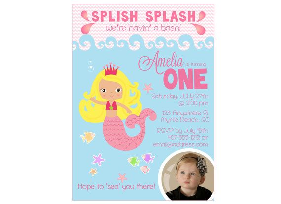 Custom Digital First Birthday Mermaid Invitation Mermaid Birthday - Digital first birthday invitation