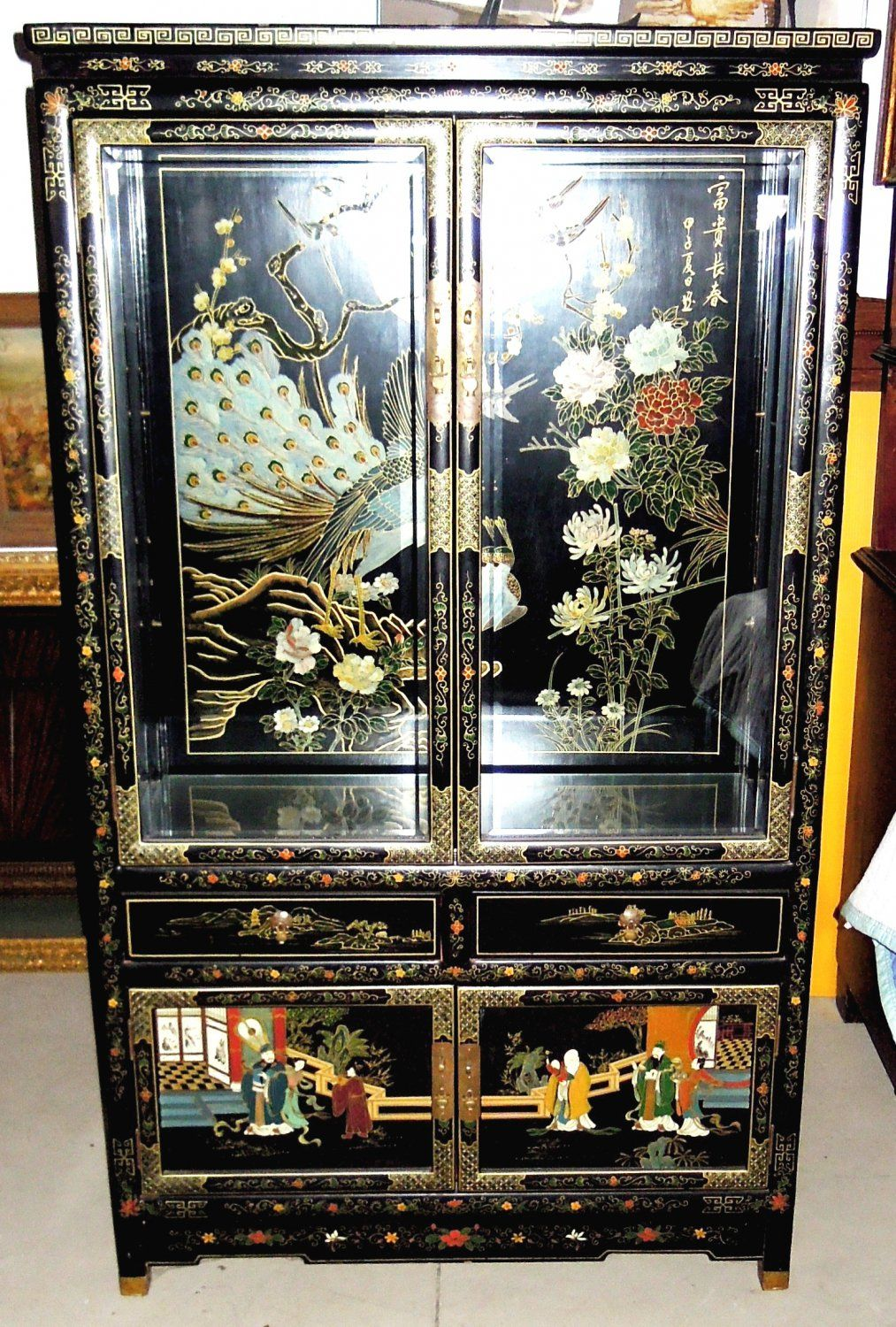 Off Market China Cabinet Black Lacquer Made In Shanghai China