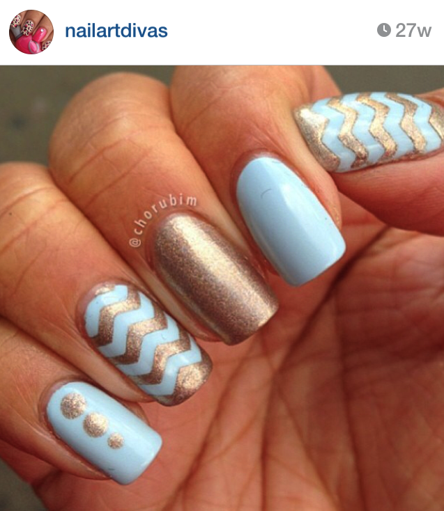 Light blue and gold nails