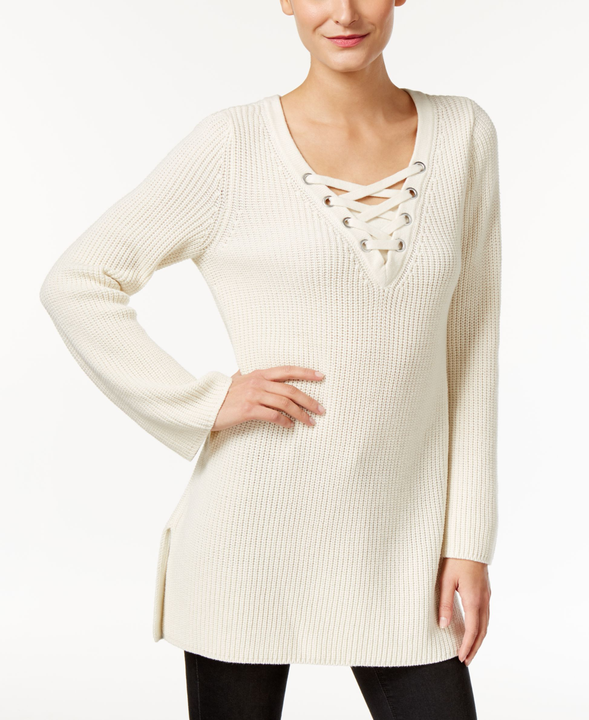 Style & Co. Lace-Up Tunic Sweater, Only at Macy's | Outfits ...