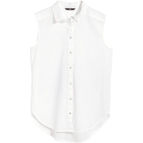 7f0fe9ea4f49ba H M Sleeveless cotton blouse ( 11) ❤ liked on Polyvore featuring tops