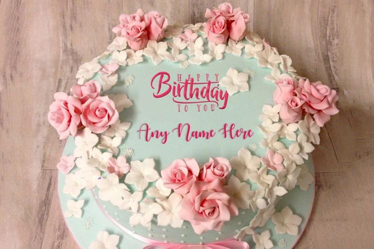 Easy Birthday Flower Rose Cake With Name Online Birthday Cake With Flowers Birthday Wishes Flowers Cake Name