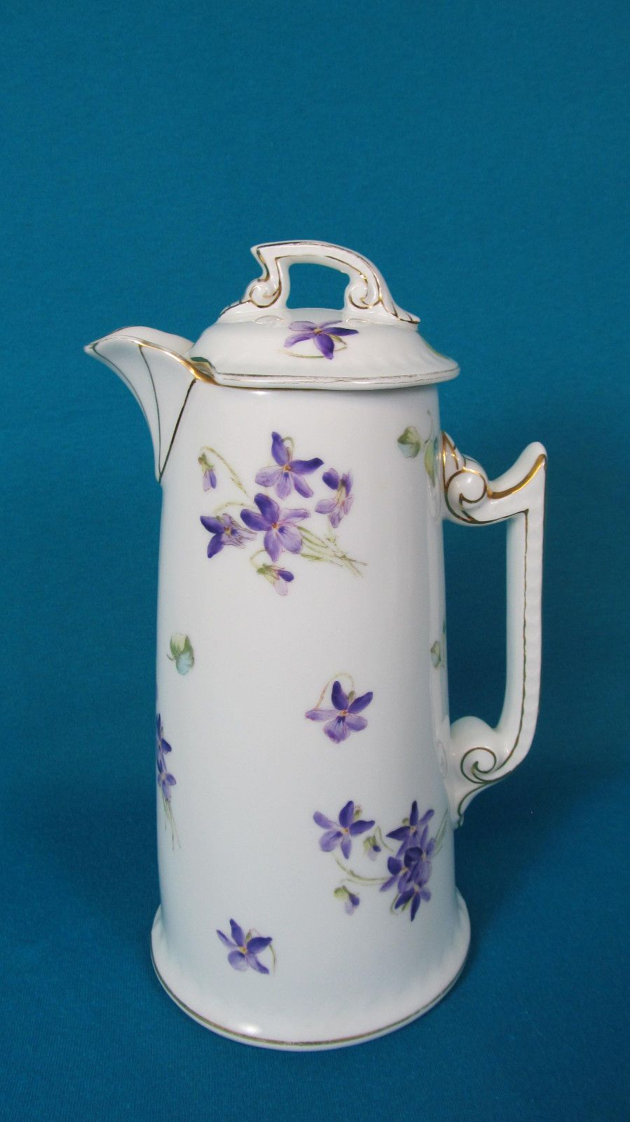 T&V Tressman Limoges Violets Chocolate Pot with Rare Tray in Pottery & Glass, Pottery & China, China & Dinnerware, Limoges   eBay