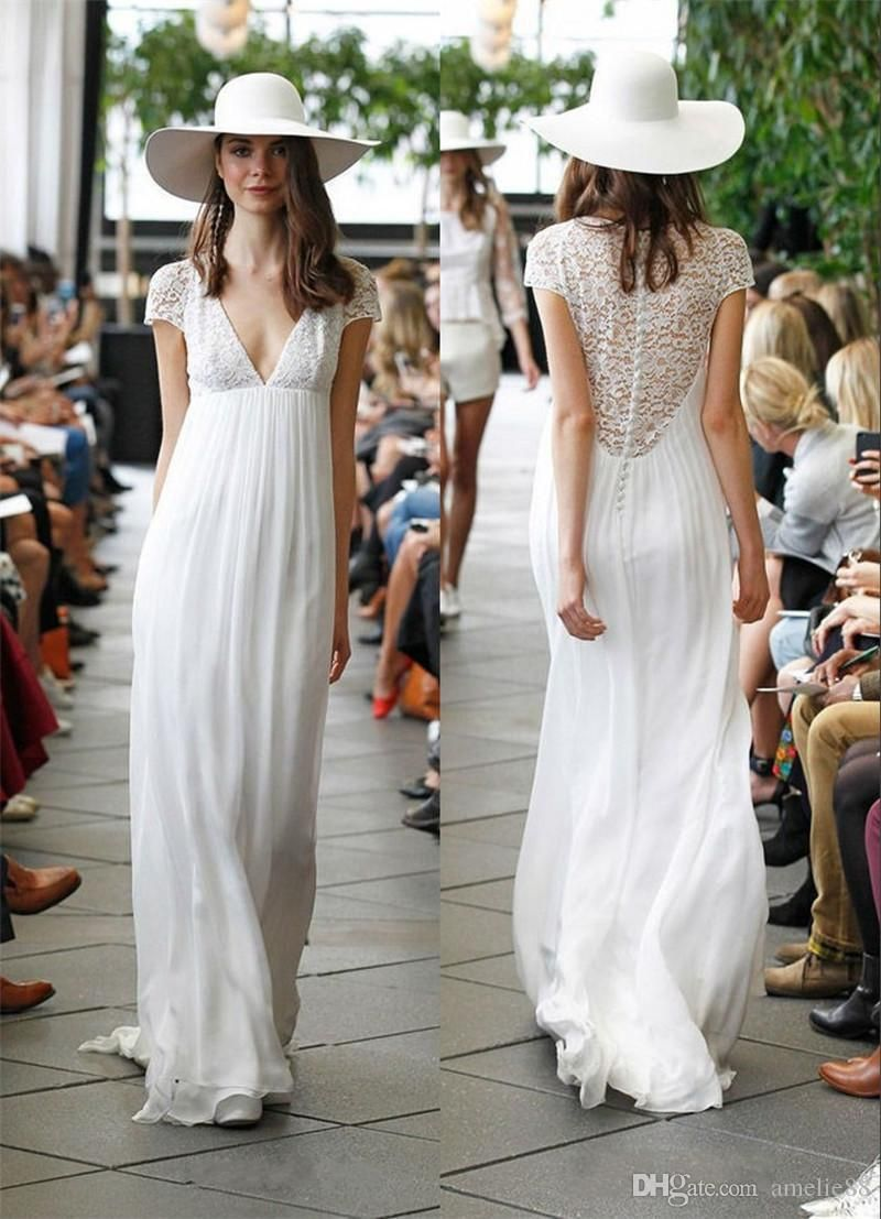 Discount boho hippie wedding dresses sheer vintage lace back a