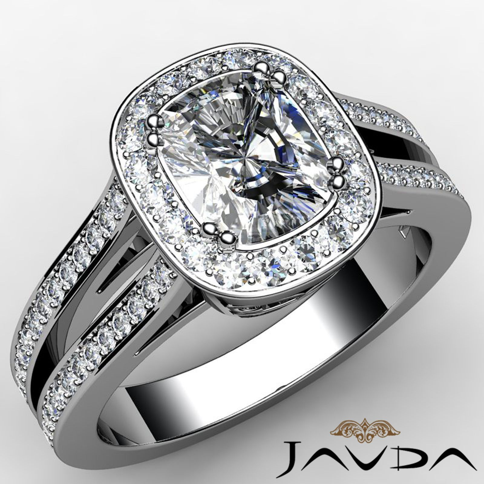 Cushion diamond split shank pave engagement ring gia f color vs