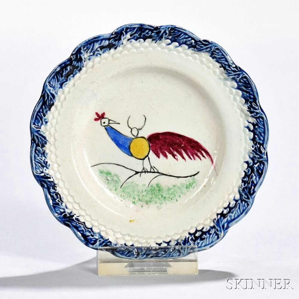 Blue Spatterware Scalloped-edge Cup Plate