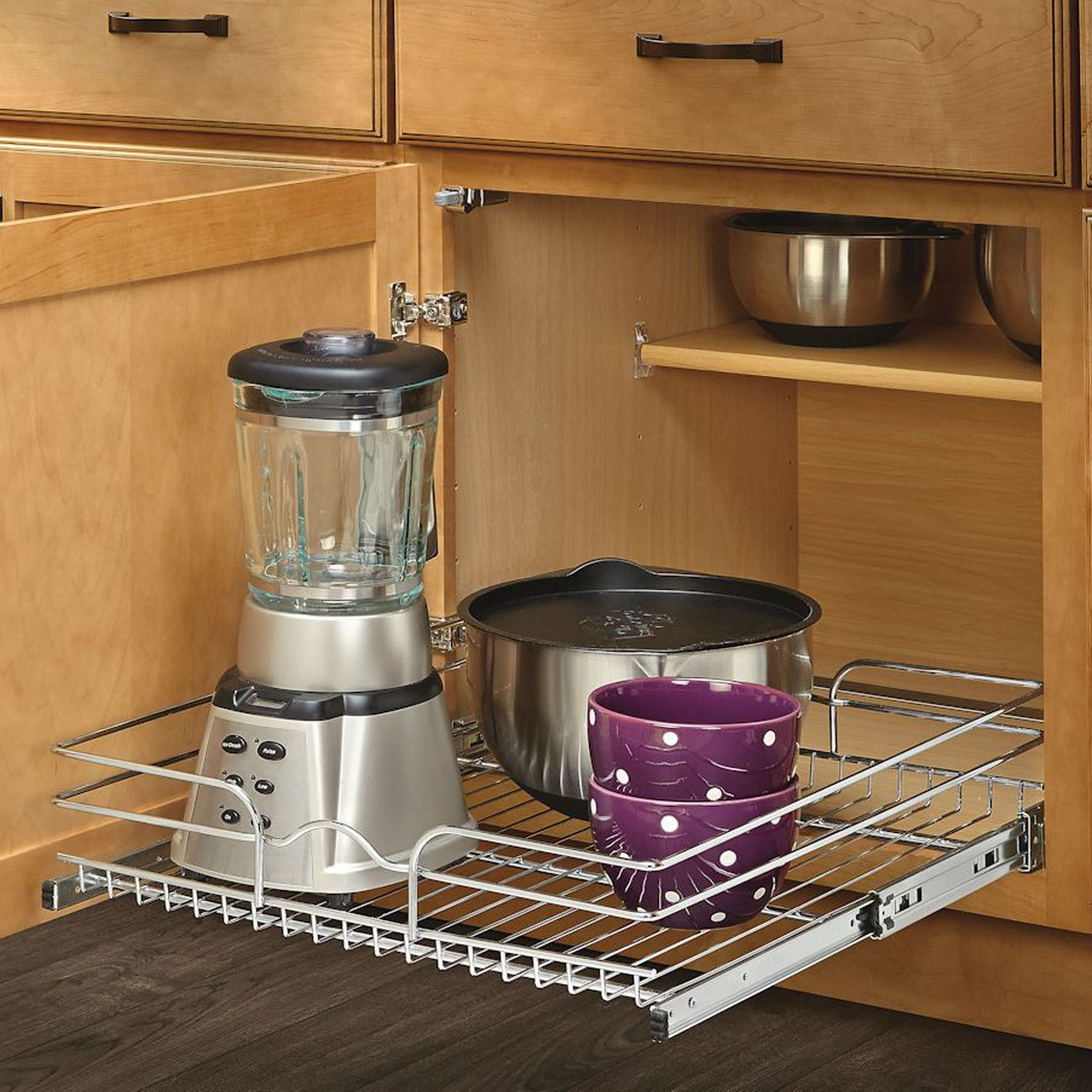 """21"""" x 22"""" Roll Out Wire Basket Cabinet Organizer Rack"""