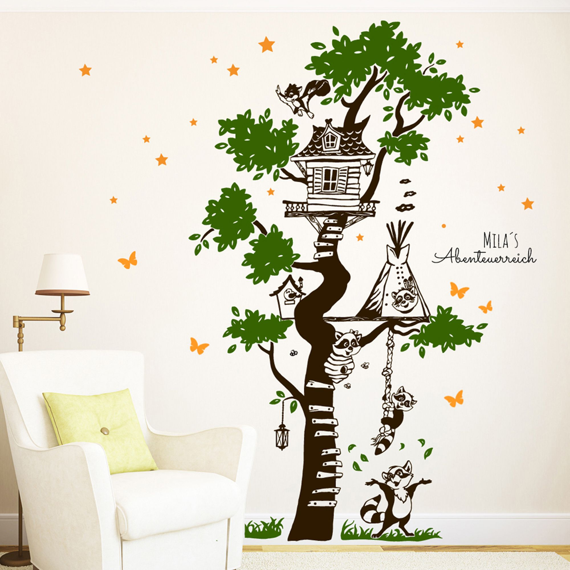 Fesselnde Wandtattoo Bäume Das Beste Von Wandtattoos - Baum Waschbären Sterne - Ein