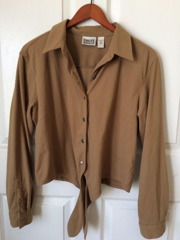 3d6538da8 CHICO'S Design Women's Faux Suede Button Up Shirt Tie Front Long ...