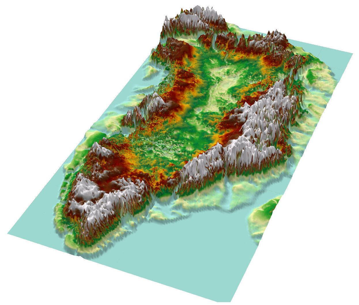 Topographic map of Greenland from bedrock elevation data ...