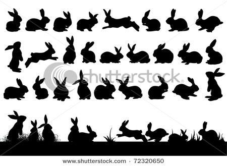 bunny rabbit silhouette clip art