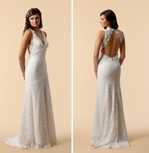 V-neck cotton crochet lace sheath style wedding dress with beautiful open back