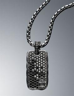 David Yurman Men Necklaces Chains Large Black Pave Dog Tag