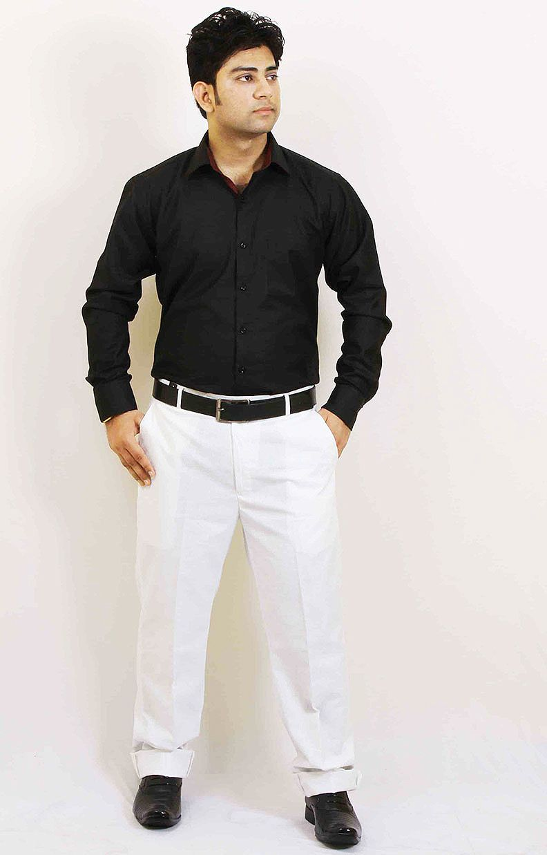 Buy Black and Blue Party Wear Cotton Shirt For Men Online in India ...