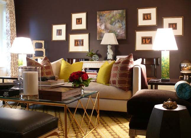 Small Home Decor With Dark Brown Living Room | Color: Brown Home