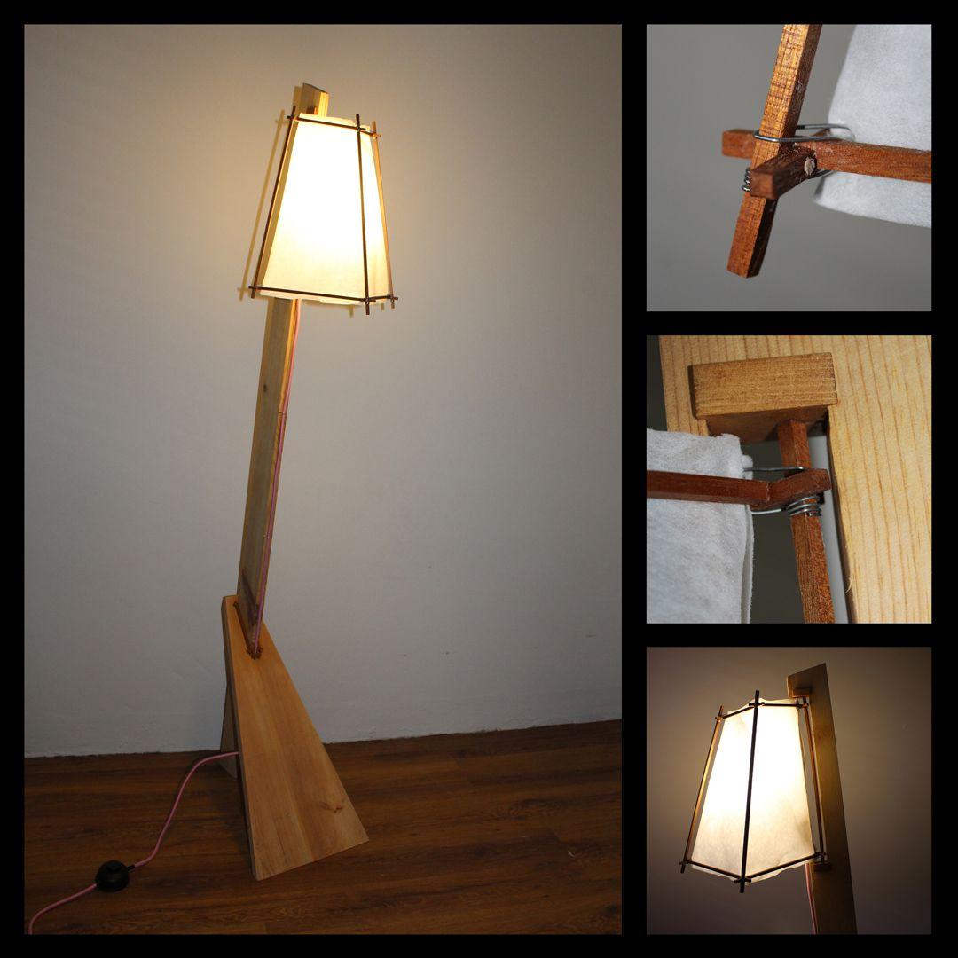Lampara De Pie De Madera Mampara De Tela Y Cable Rosa Exterior Decor Lamp Home Decor