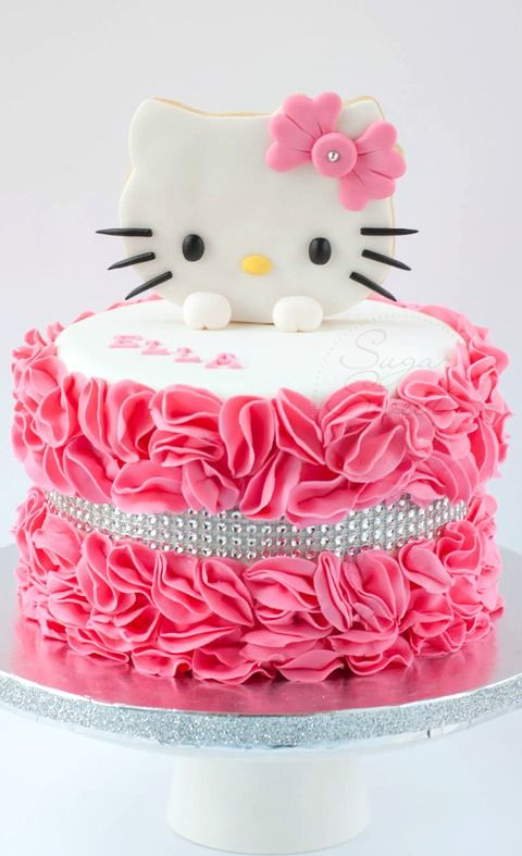 Awesome Hello Kitty Ruffled Cake Hello Kitty Birthday Cake Cat Cake Personalised Birthday Cards Cominlily Jamesorg