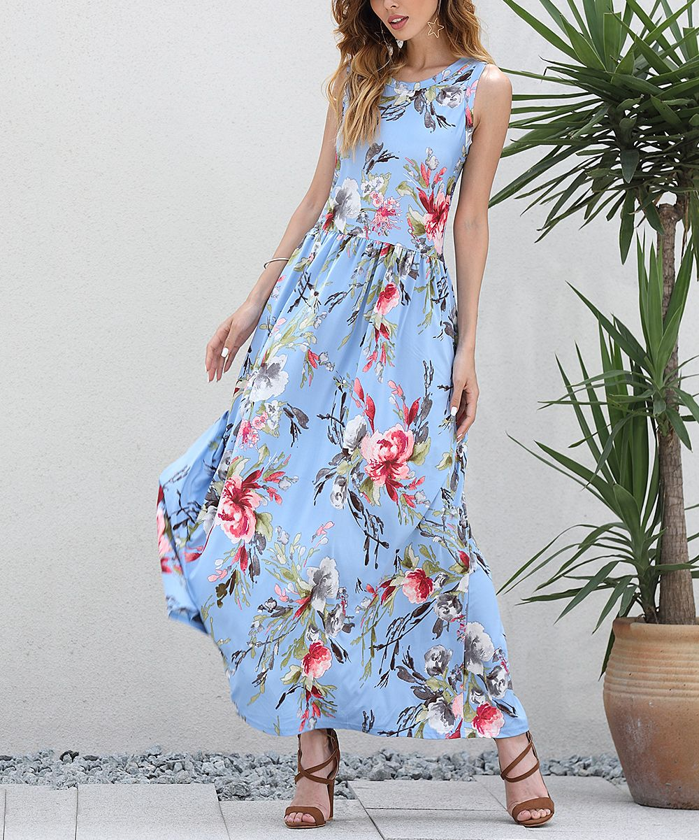 Z avenue usa light blue floral sleeveless maxi dress women u plus