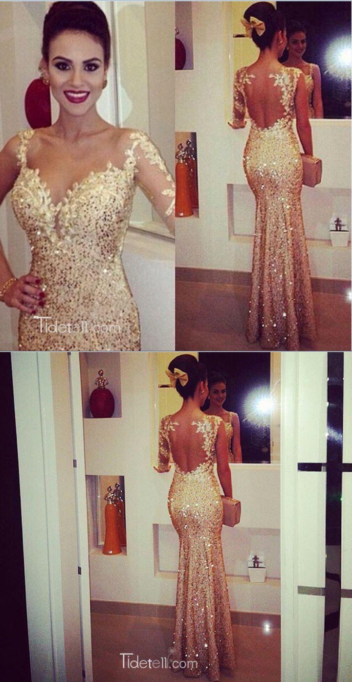 Mermaid Sweetheart Long Sleeves Gold Backless EveningProm Dress