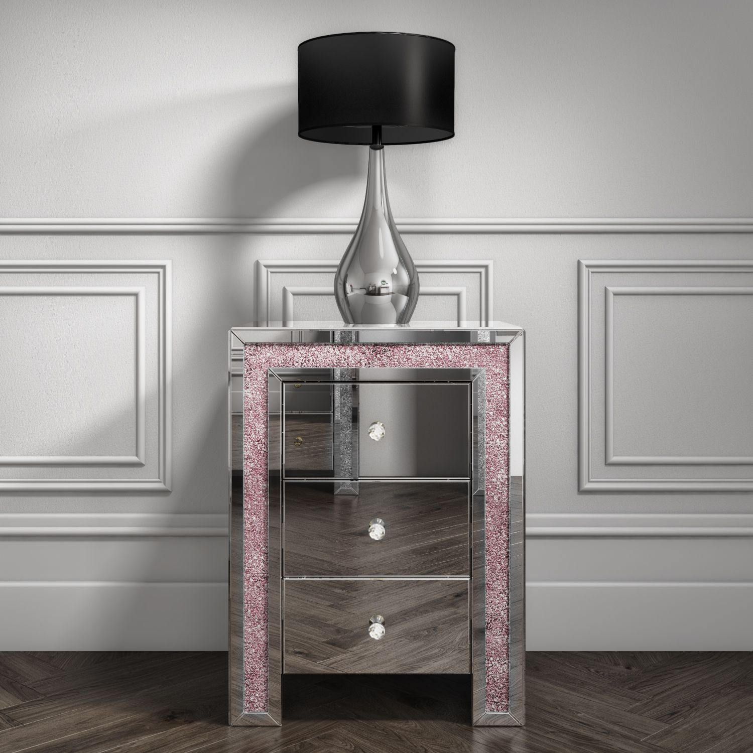 Mirrored 3 Drawer Bedside Table With Crushed Diamond Effect In