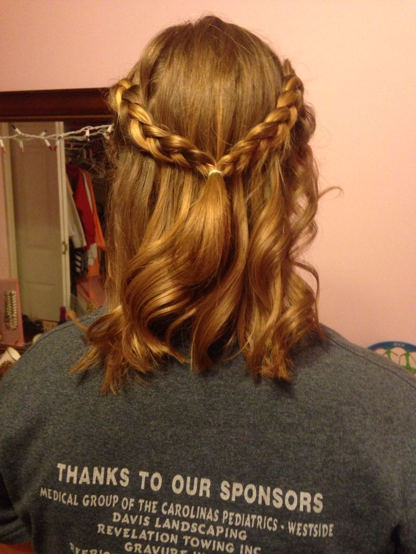 Messy curls and braids going back such a cute look hair nails