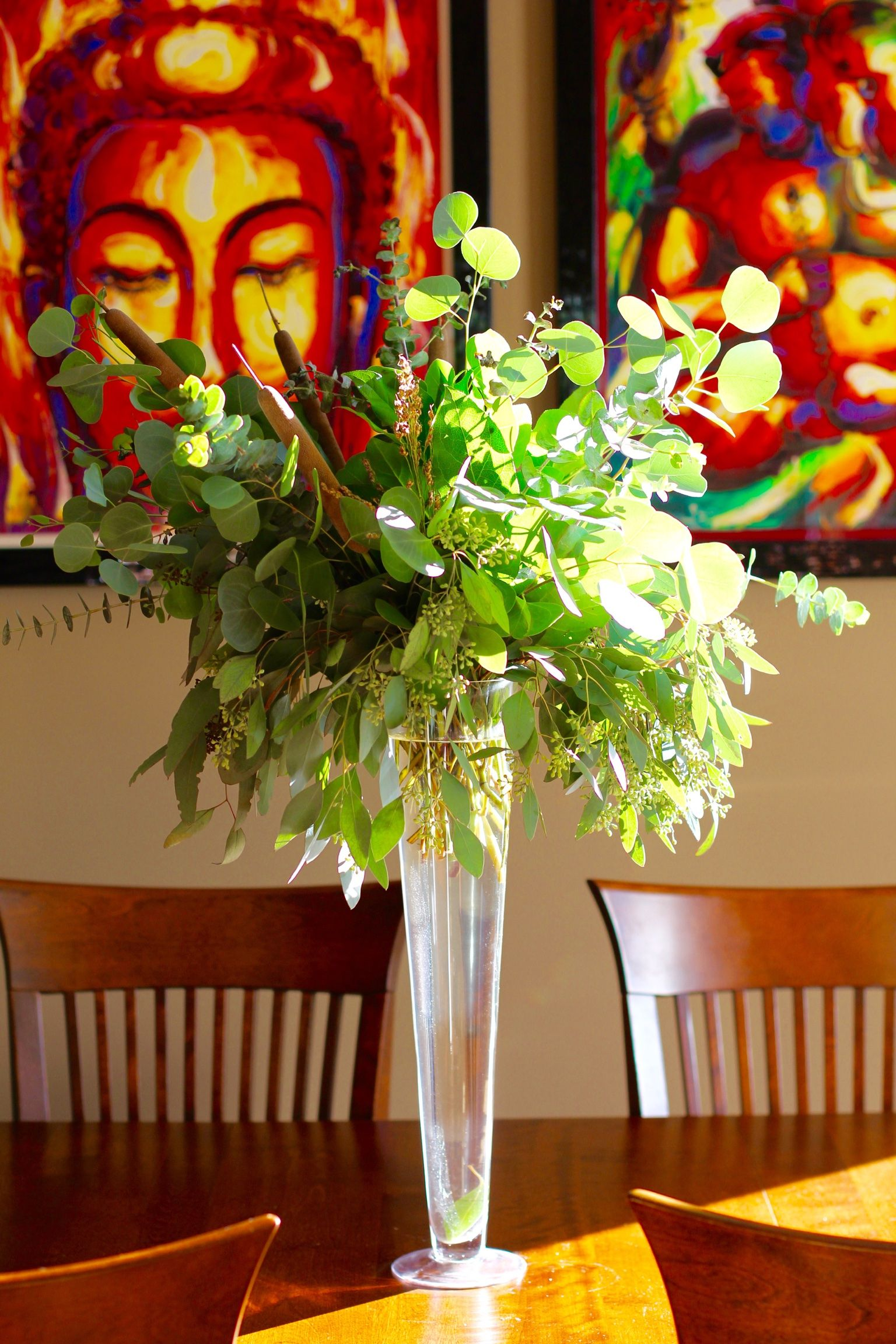 All greenery elevated centerpiece