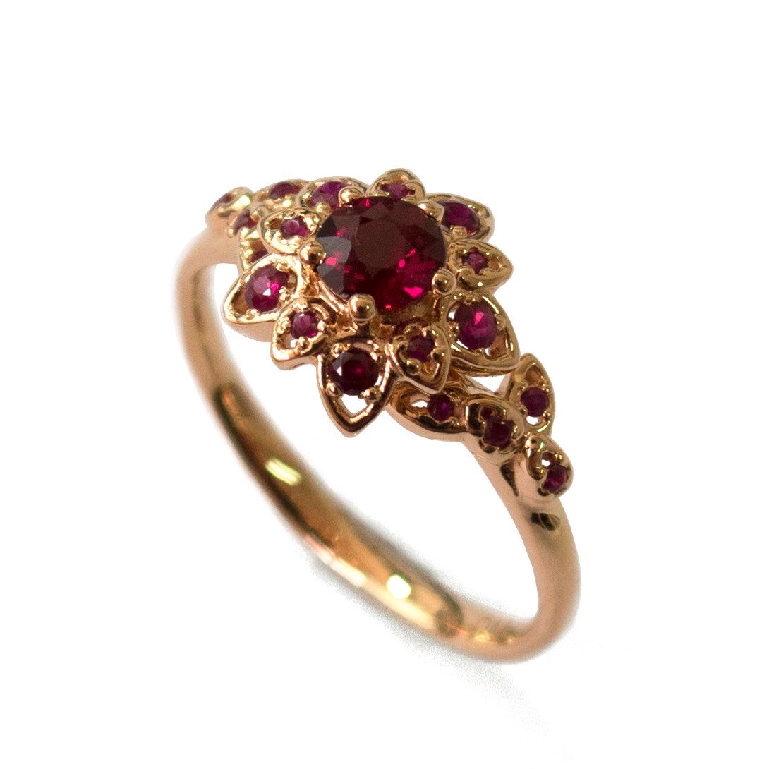 Ruby petal engagement ring k rose gold and ruby engagement ring