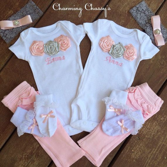 Baby girl twins coming home outfits by CharmingChassys on Etsy ...