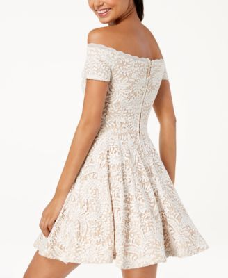91f2c41210d B Darlin Juniors  Off-The-Shoulder Lace Fit   Flare Dress - White 11 ...