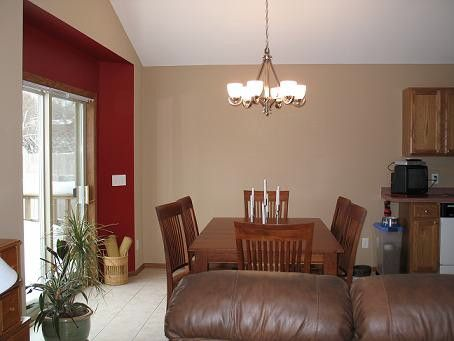 Red Accent Wall With Tan.iu0027m Thinking A Darker Brown For The Family Room?