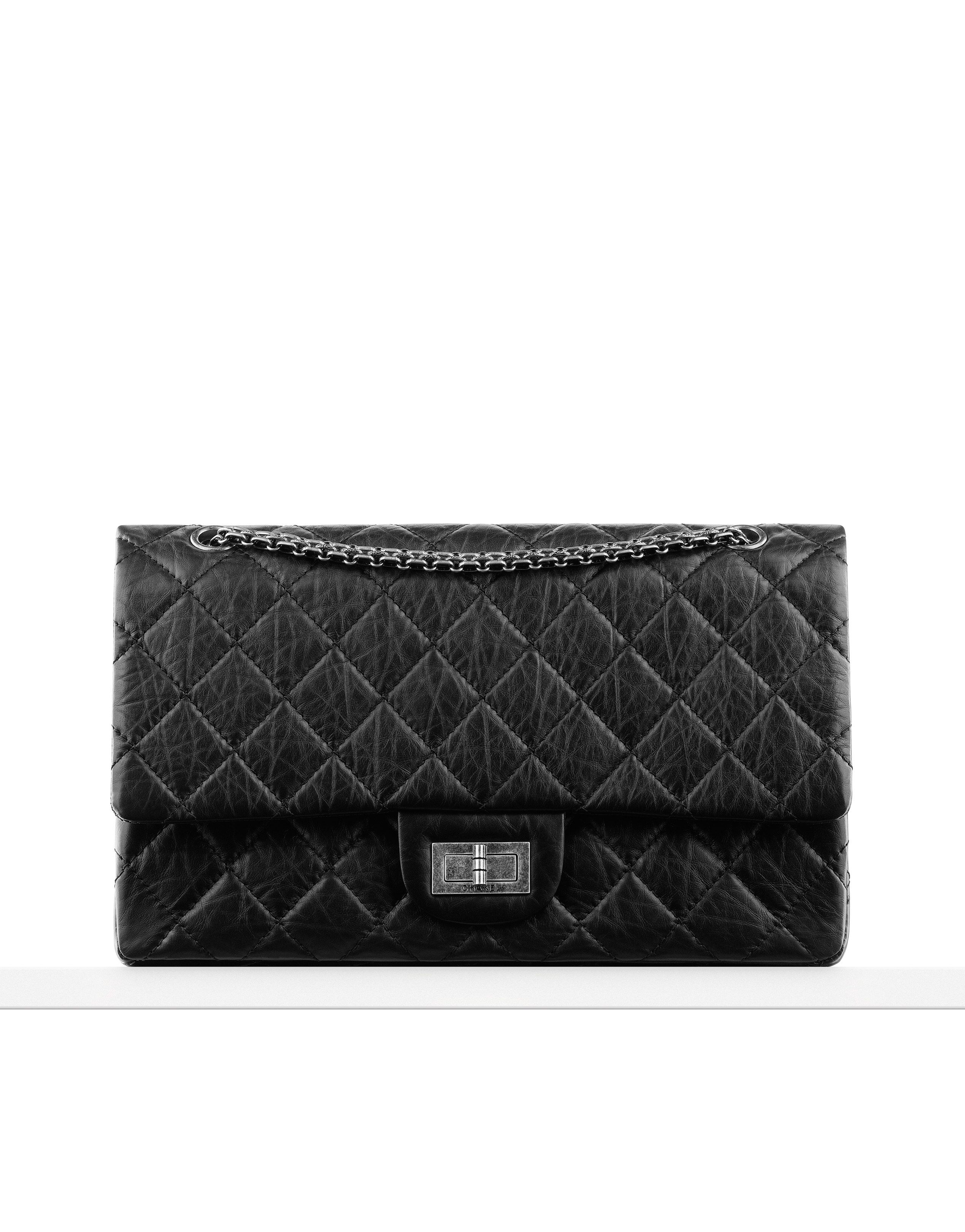 1fb54c42eb0b Large 2.55 flap bag in quilted aged... - CHANEL