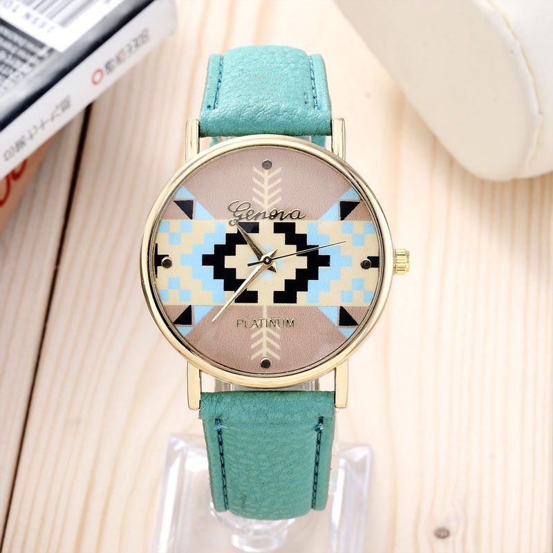 Zegarek Damski Geneva Azteckie Geometryczne Wzory Leather Watch Womens Watches Geneva Watch