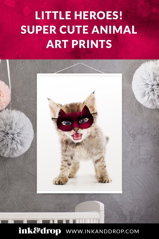 Super Kitten Little Heroes Animal Print In 2020 Kitten Art Poster Prints Hang Canvas Art