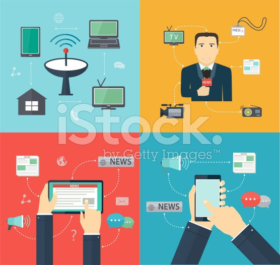 Broadcasting News via mobile devices, Journalism royalty-free stock vector art