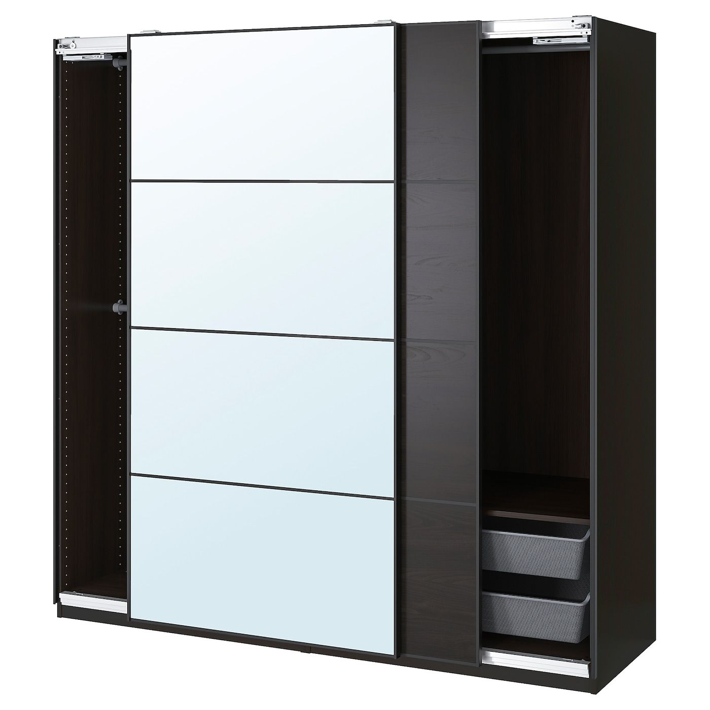 Pax Mehamn Auli Wardrobe Combination Black Brown Mirror Glass 78 3 4x26x79 1 4 Ikea In 2020 Ikea Pax Glass Mirror Brown Mirror
