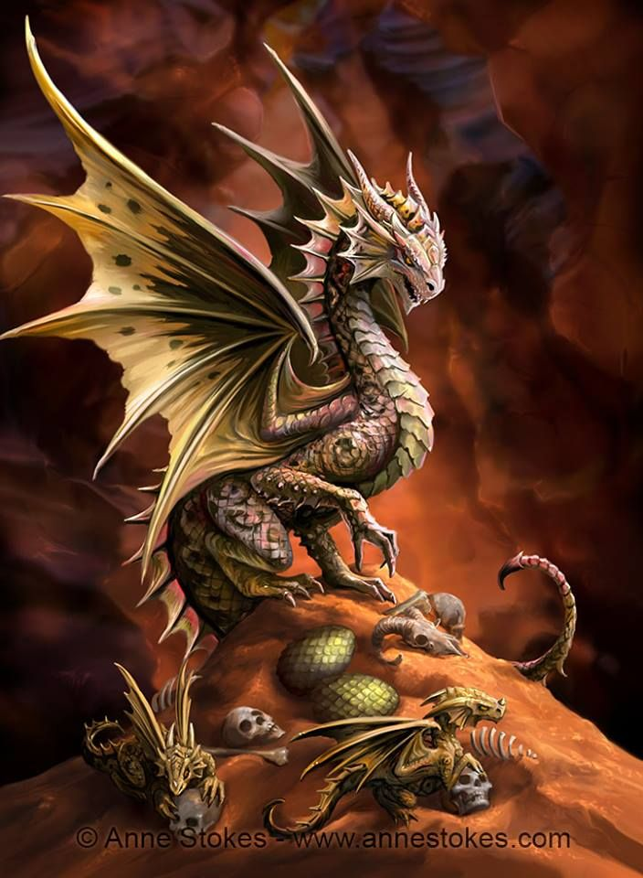 Draco Harenam (commonly known as the desert dragon) can whip up a small sandstorm using its wings to confuse prey or escape from danger. It has a highly venomous bite and stinger on the end of its tail. The adult, young and eggs are seen here together in their sand filled cave lair. © Anne Stokes. Age of Dragons.