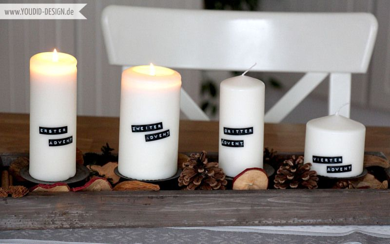 Adventskranz mit Dymo | www.youdid-design.de  #xmasdecoration #weihnachtsdekoration #dymo