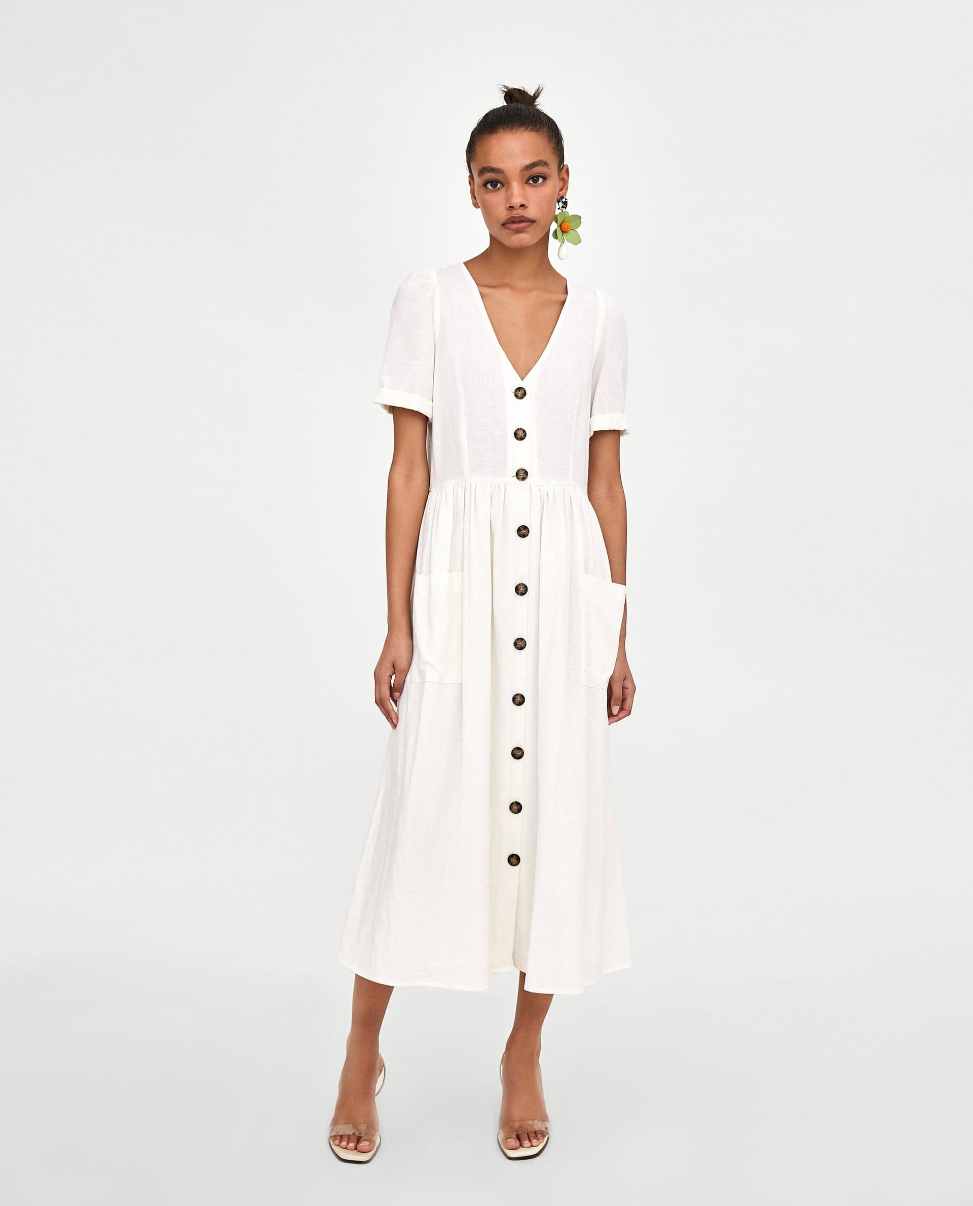 1651115a4 VESTIDO MIDI BOTONES in 2019 | spring/summer | Dresses, Zara dresses ...
