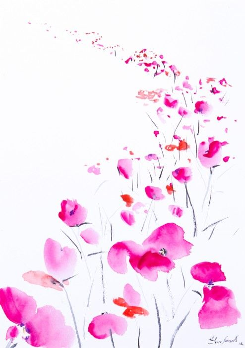 Elena From Hados In Spain Amapolas Rosas Aquarelle Painting