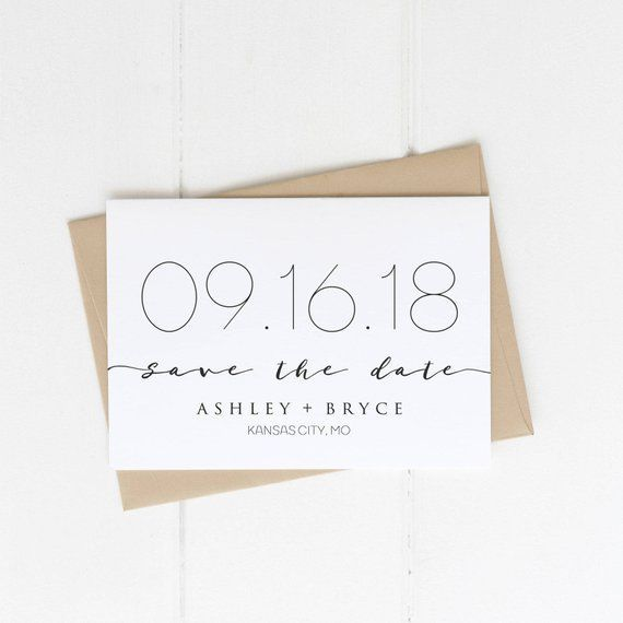 Save the Date Card Modern Black and White Printable Minimalist Simply Chic Wedding Announcement Classy White Neutral Magnet Photo  Karten