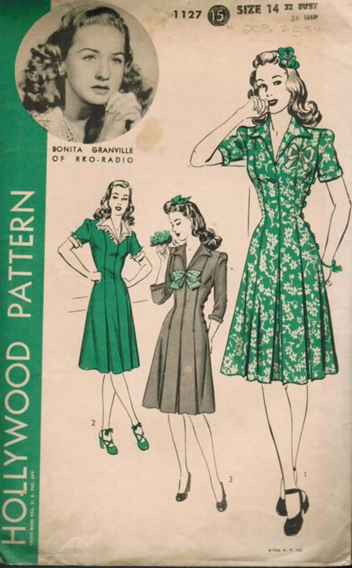 Hollywood 1127 Vintage Sewing Patterns Vintage Dress Patterns Vintage Outfits