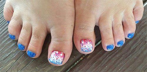 Fourth Of July Toe Nail Art Beauty Pinterest Toe Nail Art And