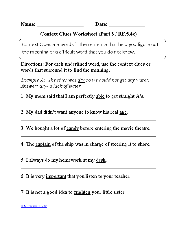 5th Grade Common Core Reading Foundational Skills Worksheets Context Clues Worksheets Context Clues Reading Foundational Skills