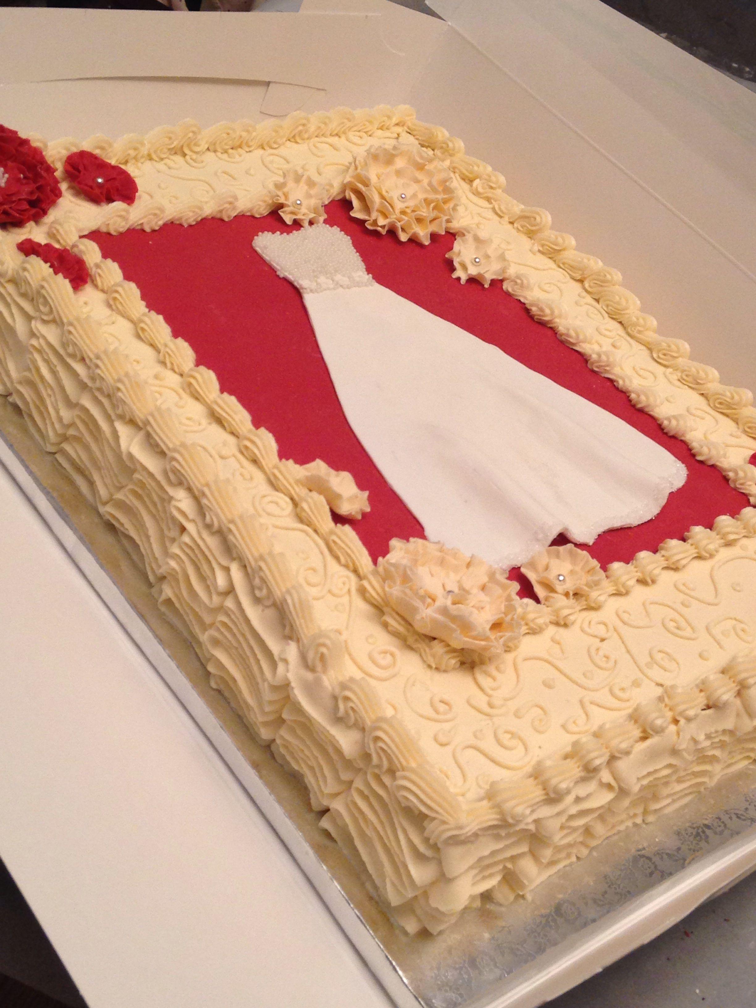 Bridal shower cake. Red velvet cake and cream cheese icing